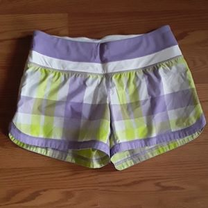 Lululemon Foxy Plaid Lime Lavender Speed Up Shorts